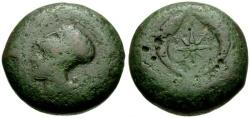 Ancient Coins - Sicily, Syracuse, Dionysios I Æ Drachm / Athena / Dolphins and Star