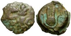 Ancient Coins - Ptolemy IX Soter II Lathyros (116-106 BC) Æ11 / Headdress of Isis
