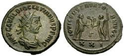 Ancient Coins - EF/EF Diocletian Æ Antoninianus / Emperor receiving Victory from Jupiter