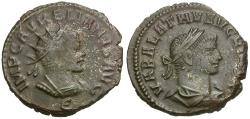 Ancient Coins - Aurelian (AD 270-275) with Vabalathus Billon Antoninianus