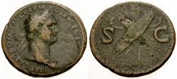 Ancient Coins - Domitian Æ AS / Shields and Arms