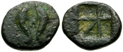 Ancient Coins - Islands off Attica.  Aegina Æ14 / Two Dolphins