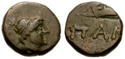 Ancient Coins - VF/gF+ Cimmerian Bosporus, Pantikapaion Æ12 / Apollo / Bow in case