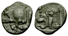 Ancient Coins - Mysia. Kyzikos AR Obol / Boar and Lion