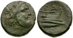 Ancient Coins - Kings of Macedon. Demetrios I Polorketes Æ15 / Poseidon and Prow