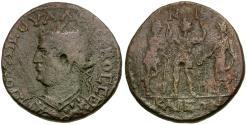 Ancient Coins - Valerian I (AD 253-260). Bithynia. Nicaea Æ25 / Valerian, Gallienus and Priest