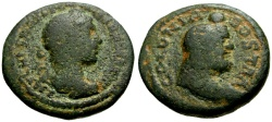 Ancient Coins - Severus Alexander, Arabia Bostra Æ19 / Bust of Zeus Ammon