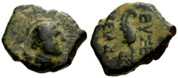 Ancient Coins - VF/VF Cappadocia, Time of Archelaus Anonymous Æ14 / Wing of Nike