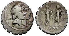 Ancient Coins - 68 BC - Roman Republic. Q. Fufius Calenus and Mucius Cordus AR Denarius / Italia