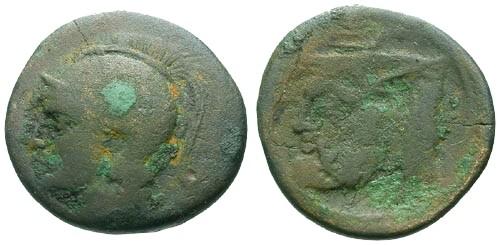 Ancient Coins - F/F Acarnania Federal Coinage AE22 / Man-headed Bull