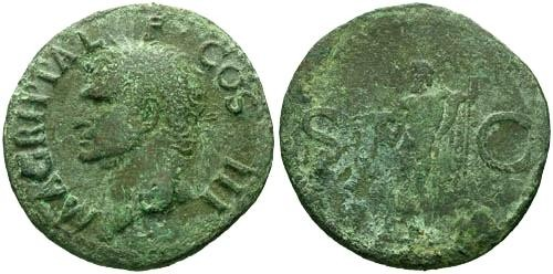 Ancient Coins - aVF/F Agrippa AS / Neptune holding dolphin and trident