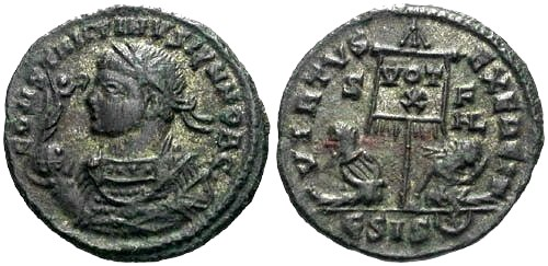 Ancient Coins - EF/EF Constantine II as Caesar AE / Captives and Silvering R2