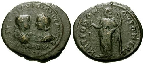 Ancient Coins - F/F Gordian III & Tranquillina Moesia Inferior Tomi AE29 / Hera