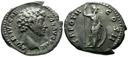 Ancient Coins - VF/VF Marcus Aurelius as Caesar AR Denarius / Minerva