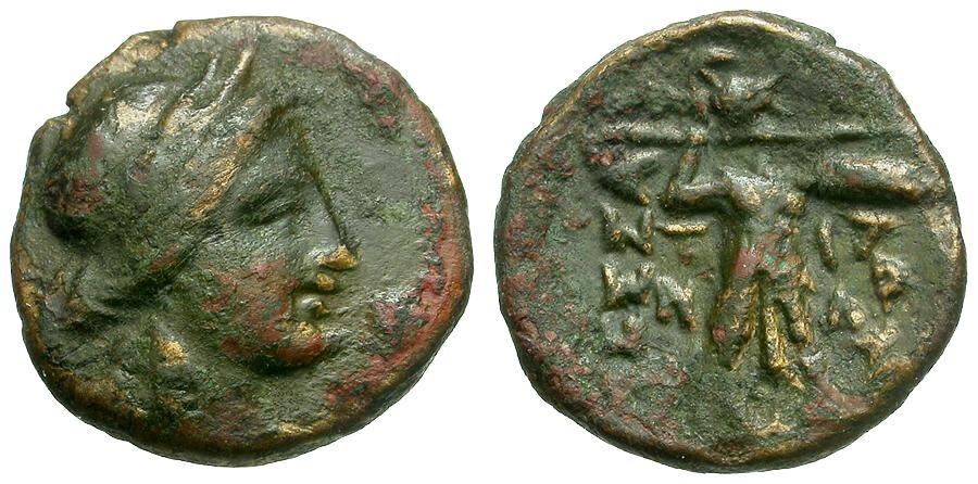 Ancient Coins - Thessaly.  Thessalian League 1/3 Unit Æ15 / Apollo / Athena