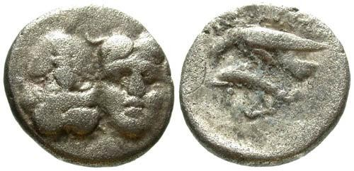 Ancient Coins - gF/gF Thrace Istros AR 1/4 Stater of / Inverted busts & Eagle, Dolphin