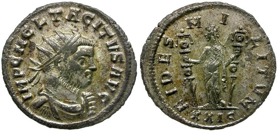 Ancient Coins - Tacitus (AD 275-276) Silvered Æ Antoninianus / Fides