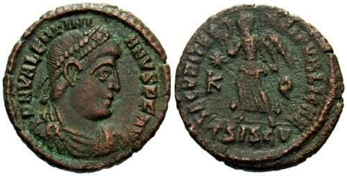 Ancient Coins - VF/F Valentinian I AE3 / Victory