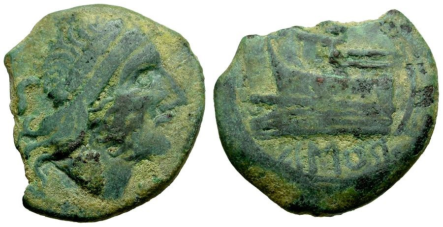 Ancient Coins - Spain. Roman Republic. Imitative Æ Semis /AMOR below Retrograde Prow