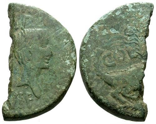 Ancient Coins - gF/F Augustus and Agrippa Colonial AE26 Half Cut for Change / Crocodile