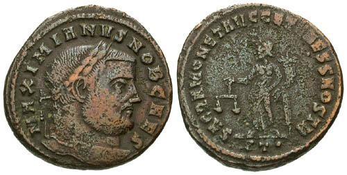 Ancient Coins - aVF/gF Galerius AE Follis / Moneta