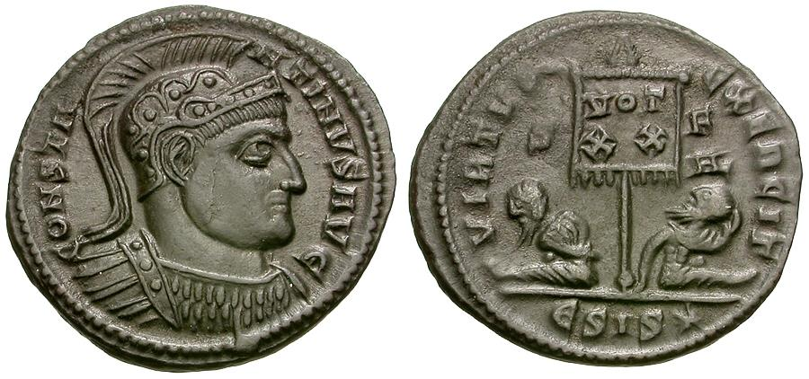 Ancient Coins - Constantine II the Great (AD 306-337) Æ3 / Vexillum and Captives