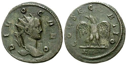 Ancient Coins - aVF/aVF Carus AE Antoninianus / Consecratio Eagle