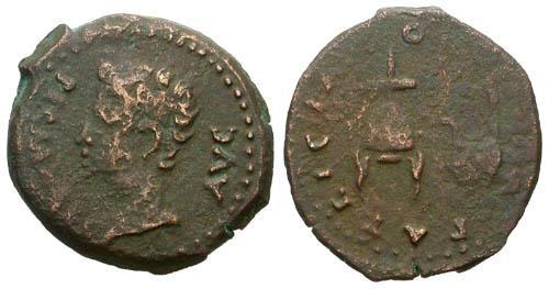 Ancient Coins - F/F Augustus COL Patricia AE22 / Simpulum