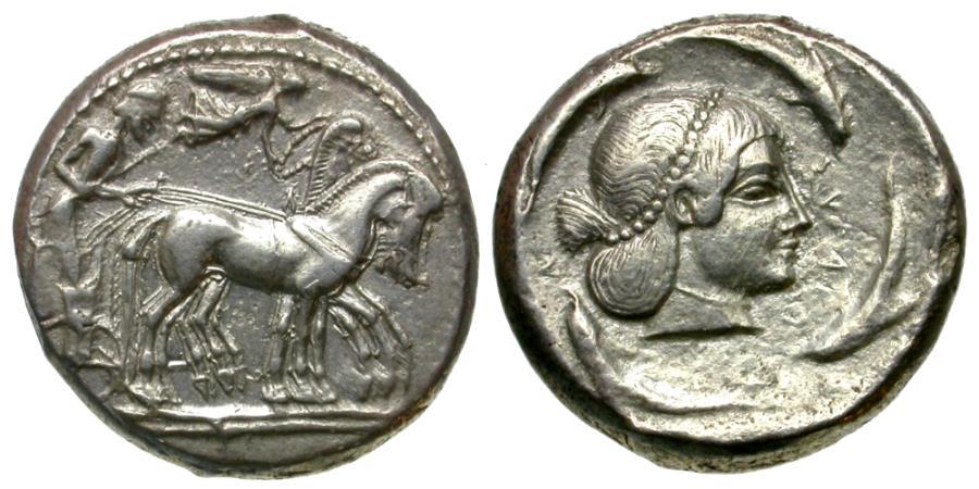Ancient Coins - Sicily. Syracuse. Hieron I (478-466 BC) AR Tetradrachm