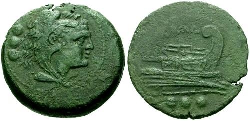Ancient Coins - VF/VF 215-212 BC Roman Republic AE Quadrans GOODMAN COLLECTION