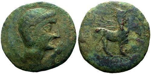 Ancient Coins - gF+/gF+ Augustus Spain Castulo AE29 / Sphinx