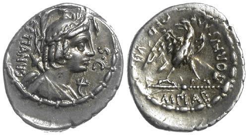 Ancient Coins - 69 BC EF/EF Roman Republic AR Denarius of Marcus Plaetorius Cestianus