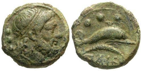 Ancient Coins - VF/VF Luciana Paestum AE Quadrans / Dolphin