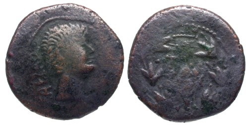Ancient Coins - F/VG Augustus Barbarous AE of Antioch / Bad Hair Day