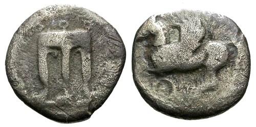 Ancient Coins - F/F Bruttium Kroton AR Diobol / Tripod / Pegasus
