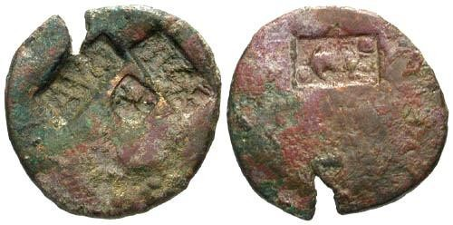 Ancient Coins - 4 Counterstamps on AS of Augustus / TICA, AVG, Capricorn and Flower