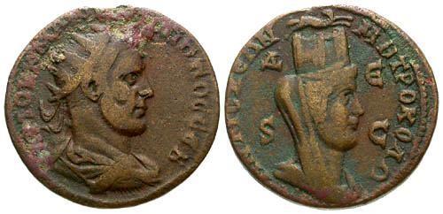 Ancient Coins - gF/gF Provincial AE 29 of Philip I, Seleucis and Pieria, Syria