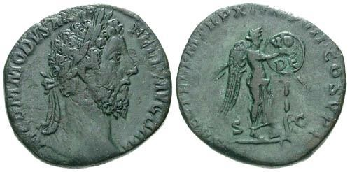 Ancient Coins - VF/VF Commodus Sestertius / Victory