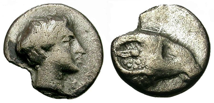 Ancient Coins - Caria.  Uncertain AR Hemiobol / Ram's Head