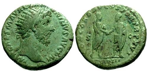 Ancient Coins - aVF/aVF Marcus Aurelius AE Dupondius / Marcus Aurelius and Lucius Verus
