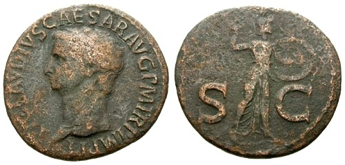 Ancient Coins - gF+/gF+ Claudius AE AS / Minerva