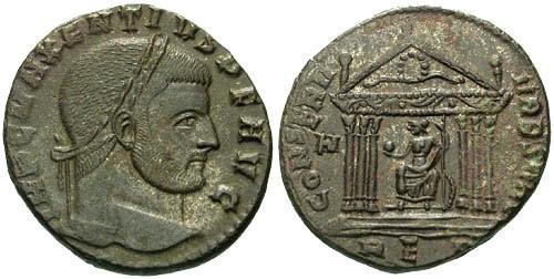Ancient Coins - VF/VF Maxentius Follis / Temple