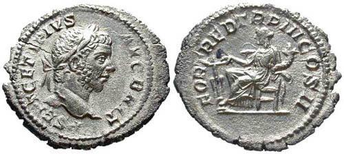 Ancient Coins - EF/VF Geta with Beard (Augustus) Denarius / Fortuna