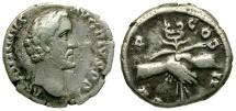 Antoninus Pius AR Denarius / Clasped Hands