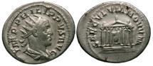 Ancient Coins - VF/VF Philip I AR Antoninianus / Roma in Temple