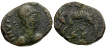 Ancient Coins - Ostrogoths in Rome. Theodoric and Athalaric. Municipal Coinage Æ 20 Nummi / She-Wolf with Twins