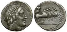Ancient Coins - 86 BC - Roman Republic. Anonymous AR Denarius / Jupiter in Quadriga