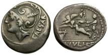 103 BC - Roman Republic.  L. Julius L. F. Caesar AR Denarius / Venus in Biga of Cupids