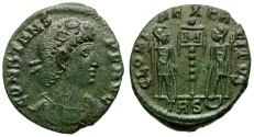 Ancient Coins - Constans as Augustus Æ4 / Soldiers and Standard