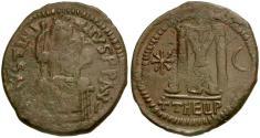 Ancient Coins - **Sear 214** Byzantine Empire. Justinian I Æ Follis